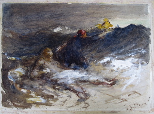 Frank Holl Wild Water (1880) watercolour on paper