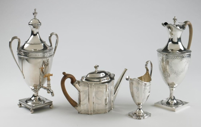 Hester Bateman silver , a hot water urn, teapot, milk jug and coffee pot (dates unknown)