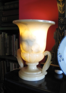 The Alabaster mantle lamps used in the library. The effect is subtle but effective