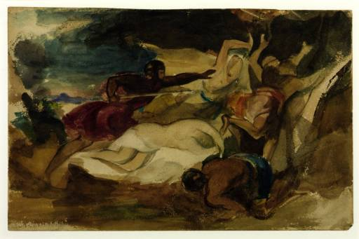 Study for 'Sir Calepine Rescuing Serena' circa 1830 by William Hilton the Younger 1786-1839